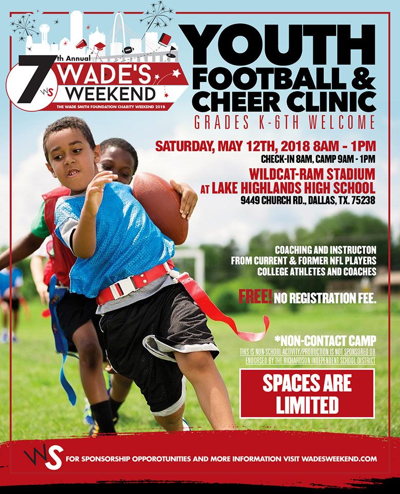 7th Annual Wade's Weekend Youth Football and Cheer Clinic